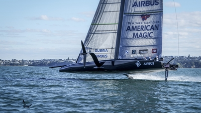First America´s Cup team in water - American Magic hit the sea in Auckland